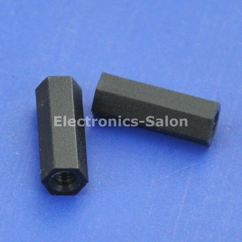 1000 un. 12mm 0.47  Negro Nailon M2 roscado hembra-Hembra Separador Espaciador hexagonal.
