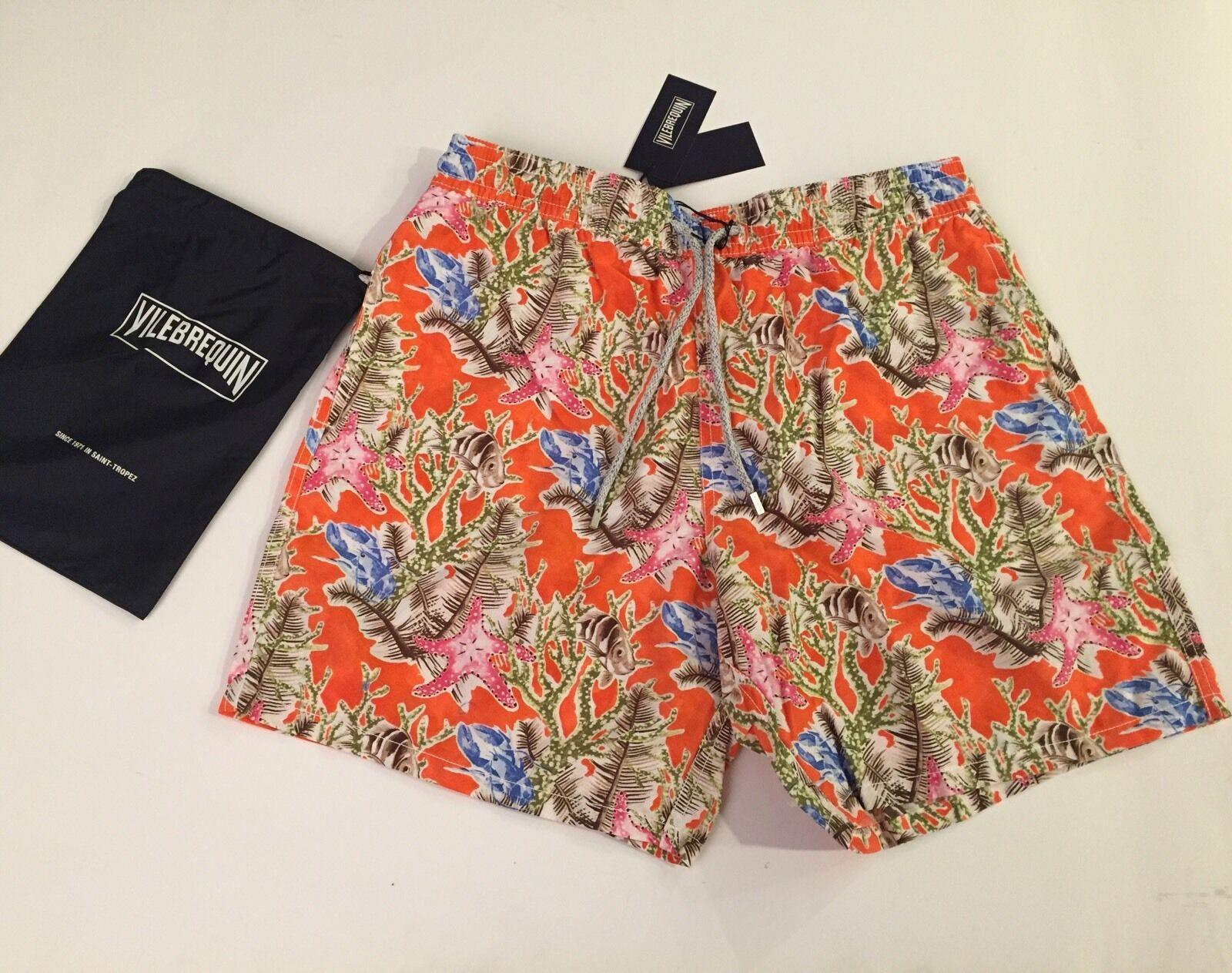 New w Tags & Bag Authentic Vilebrequin Moon Swim Trunks orange - Men Size 4XL