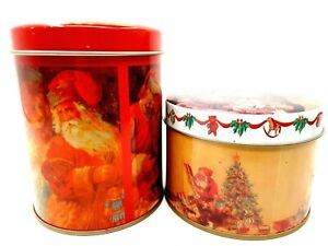 Pair of Vintage Old Fashioned Christmas Holiday Tins Featuring Santa Claus