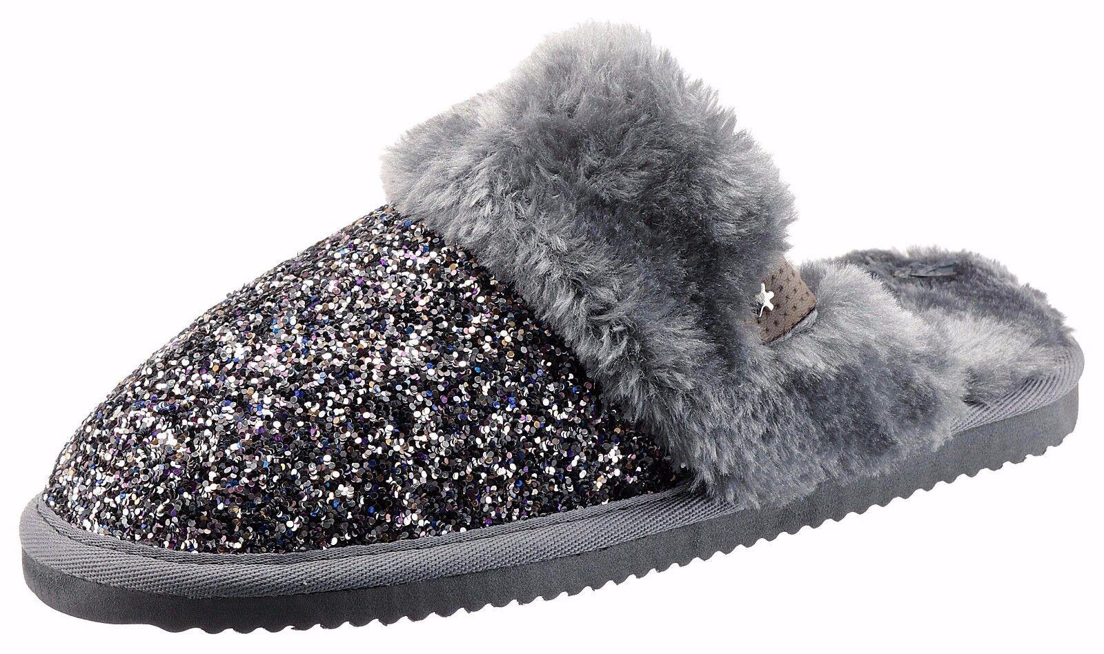 Original Flip Flop Hausschuhe grau Größe 40 Pantoffeln warm Glitzer