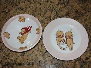 Hand Painted Signed Kewpie Bowl & Plate