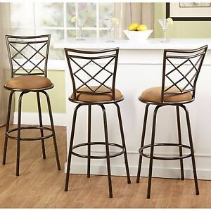 Excellent Details About Swivel Bar Stools 3 Adjustable Height Kitchen Chair Set Counter Stool Tall Brown Pabps2019 Chair Design Images Pabps2019Com