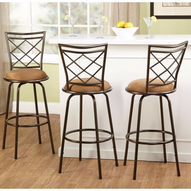 Fine Swivel Bar Stools 3 Adjustable Height Kitchen Chair Set Counter Stool Tall Brown Inzonedesignstudio Interior Chair Design Inzonedesignstudiocom