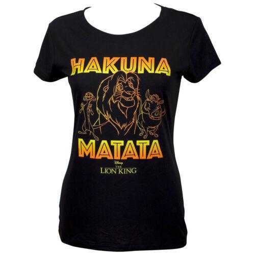 Lion King Hakuna Matata Outline Women/'s Black T-Shirt Multi-color