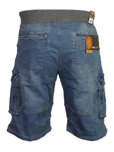 Da Uomo Nuova Kam Cargo Combat Pantaloncini Di Jeans Stretch Big Taglie Forti Elastico in Vita