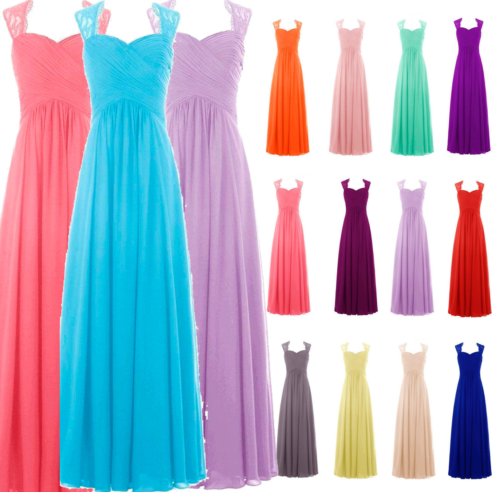 Size UK6-32 Bridesmaid Dresses Long Formal Evening Party Pageant Ball Prom Gowns