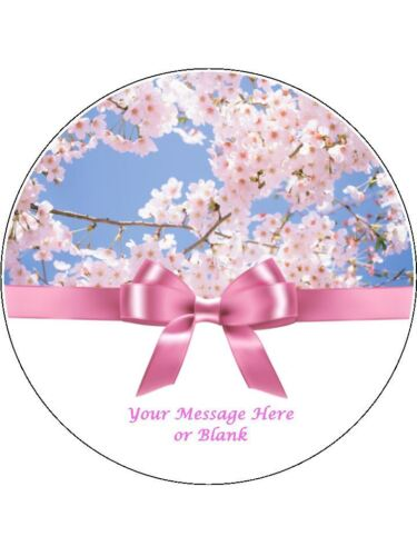 "Personalised Pink Blossom with bow  7.5/"" Edible Wafer Paper Cake Topper flowers"