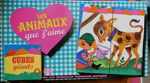 Cubes-Les-Animaux-que-j-039-aime-Fernand-Nathan-Cavahel-Vintage