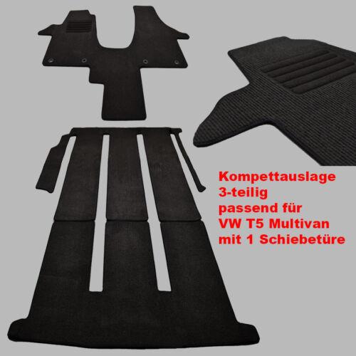 Velours Fußmatten Komplettauslage für VW T5 Multivan 1 Schiebetüre Bj.2003-2015