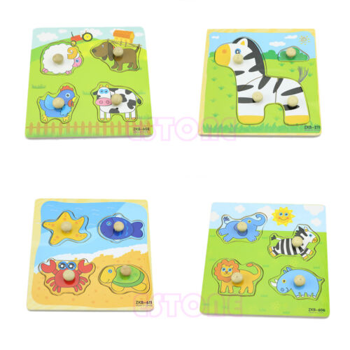 Adjustable 4 Shape Wooden Colorful Animal Puzzle Toy Baby Kids Educational Brick