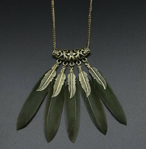 Womens Vintage Feather Leaf Bronze Plated Tassel Pendant Long Bib Necklace Chain
