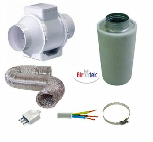 Kit growroom aria filtro carboni attivi tubo aspiratore air filter 125mm