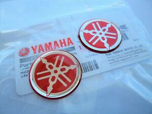 2 X Yamaha Genuine Tank Fairing Badge Gel Sticker 30mm Red Uk Stock Ebay