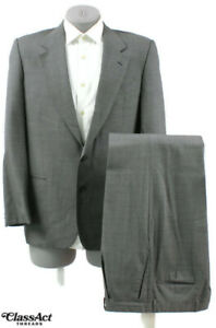 Valentino-Gray-Small-Checked-2-Buttons-Wool-Suit-40R-Pleated-Fronts-32-034-Waist