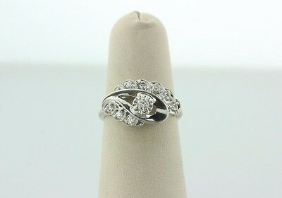 Antique Art Deco 14K White Gold 0.26ct Diamond Paisley Engagement Ring - Sz 6.5
