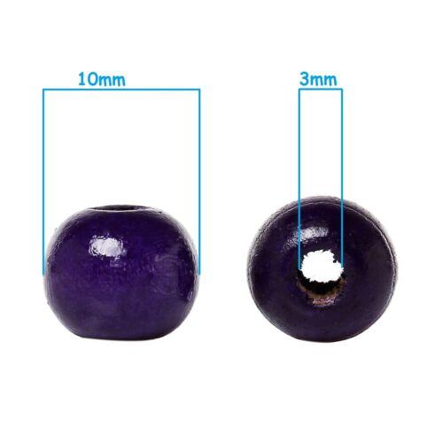 20 perles en bois 10mm couleur Violet 10 mm creation colier attache tetine ...