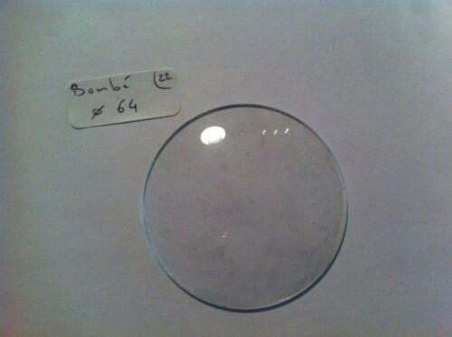 1 VERRE ROND BOMBE POUR HORLOGE DIAMETRE 64 MM