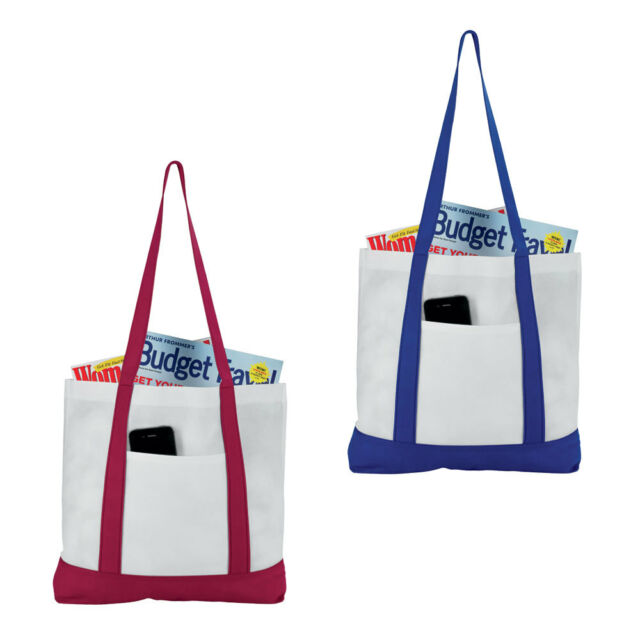 Nautical Style Tote Bag - Lightweight Non Woven Foldable Shopping & Beach Bag