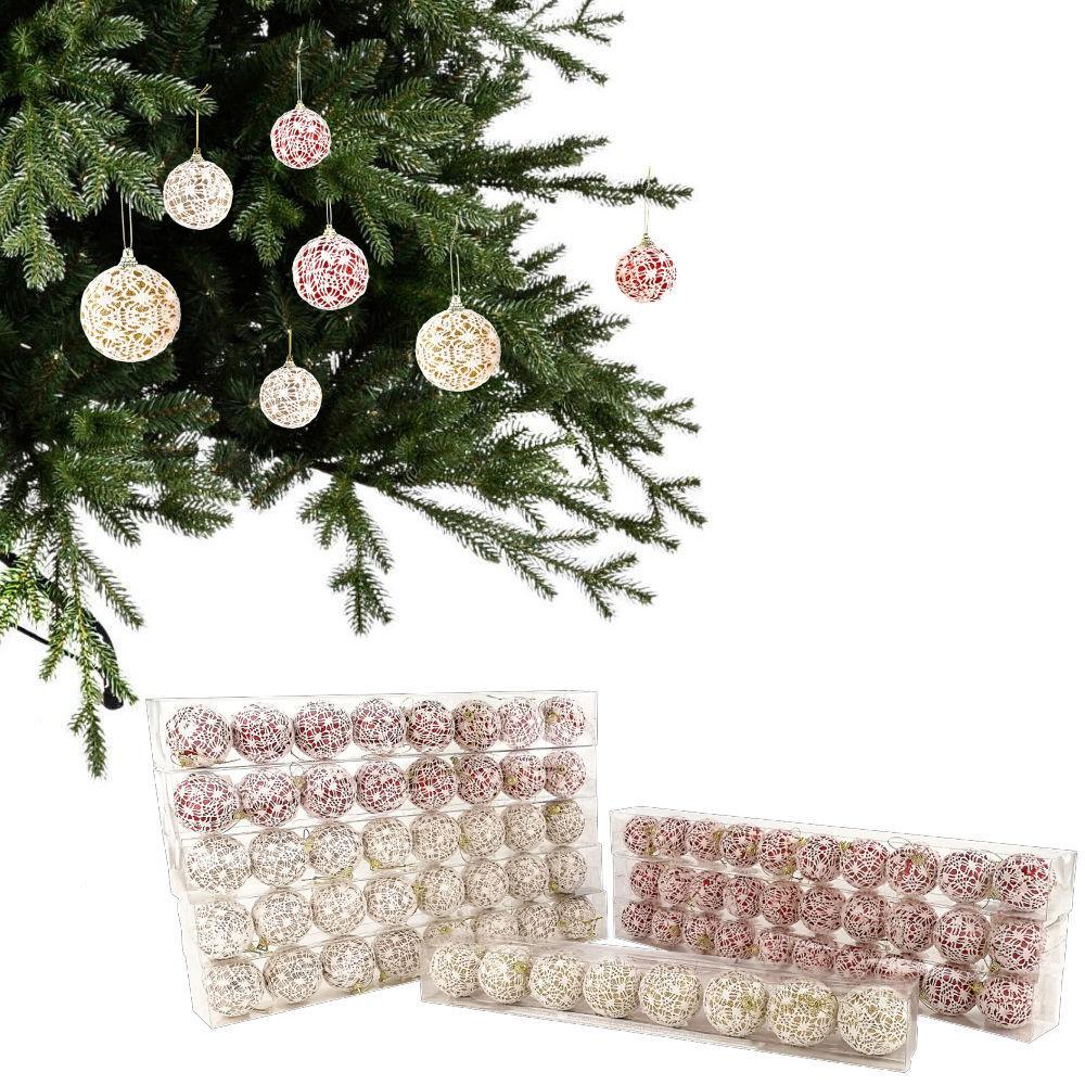 Set da 78 PALLE DI NATALE sfere natalizie con glitter e ricamo decorazione abete