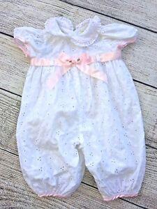 Vintage-Baby-Girl-039-s-White-Eyelet-Christening-Dedication-Romper-Size-3-6-mo