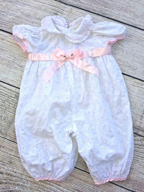 Vintage Baby Girl's White Eyelet Christening Dedication Romper Size 3-6 mo