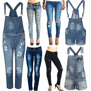 700059bf7331a Image is loading Women-Ladies-Denim-Slim-Fit-Dungarees-Ripped-High-