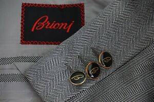 Brioni-Colonna-White-Black-Herringbone-Silk-Enamel-B-Btn-Sport-Coat-Jacket-43