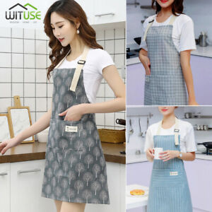 Apron-For-Men-Women-Adjustable-Bib-Kitchen-Cooking-Aprons-Dress-With-Pockets-CC