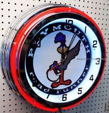 "18"" Plymouth Road Runner Sign Double Neon Clock Mopar Roadrunner"