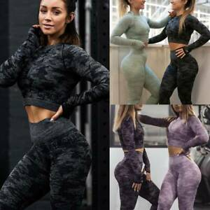 Women-Seamless-Yoga-Suit-Crop-Tops-Pants-Set-Leggings-Sports-Fitness-Stretch-Gym