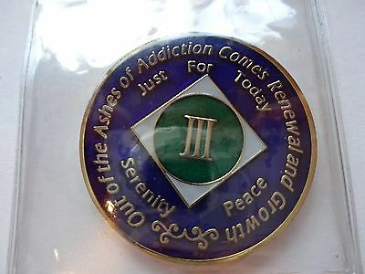 Capsule/&Stand NA Blue Gold Coin 31 Year Tri-Plate Narcotics Anonymous Medallion