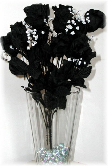 14 Long Stem Roses ~ BLACK ~ Silk Wedding Flowers Centerpieces Long Stem Gothic