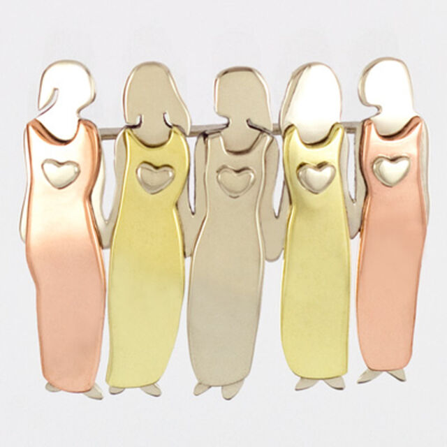Far Fetched 5 SISTERS PIN Brooch Best Friend Family Girlfriend Five + Gift Boxes