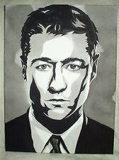 Canvas Painting Gotham Jim Gordon Benjamin McKenzie B&W Art 16x12 inch Acrylic