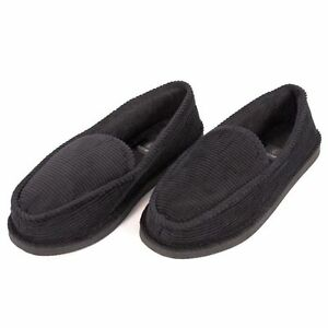 mens bedroom slippers mens slippers house shoes black corduroy moccasin slip on 12382