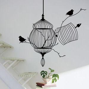 Black Birdcage Bird Removable Art Wall Sticker Home Decor Decal Vinyl Mural D