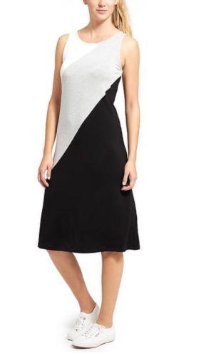 NWT Athleta Diagonal Farbe Block Tank Dress- schwarz Multi   Größe M     v