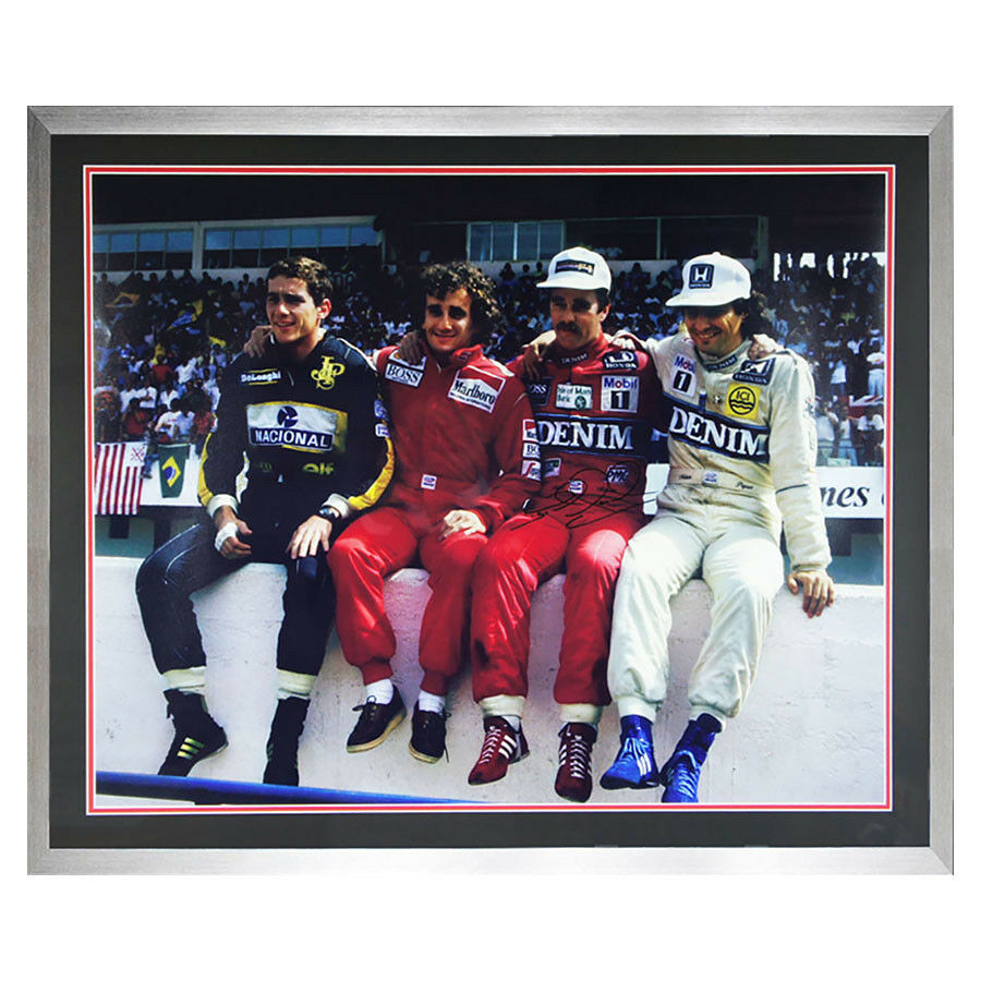 Signed NIGEL MANSELL F1 Framed Iconic Photo - PROST SENNA PIQUET - COA & PROOF