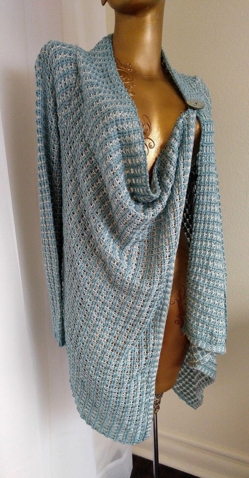 greenIGO Paris Turquoise Cardigan Asymmetrical Sweater Tunic Sz L XL