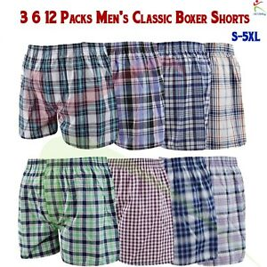 Mens Woven Boxer Shorts Rich Cotton Elasticated 3 pairs pack underwear M to 2XL