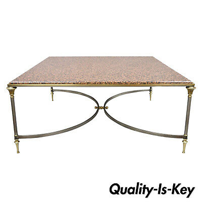 Large Square Pink Marble Top Steel Brass Coffee Table Attr