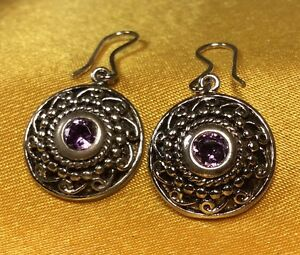 925-Sterling-Silver-Amethyst-Gemstone-Dangling-Earrings-Fine-Jewelry