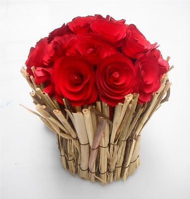 Luminosa Legno Chip Red Rose Mazzo Nozze Favori Xmas Casa Decorazione Tavola Di Visualizzazione- Gli Ordini Sono Benvenuti