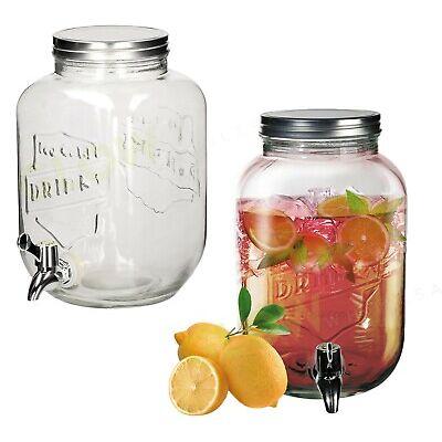 SET 2 DRINKS DISPENSER 3.5L GLASS JUG & TAP MASON JAR PUNCH JUICE GARDEN PARTY