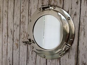 11-034-Porthole-Mirror-Chrome-Finish-Nautical-Maritime-Decor-Ship-Cabin-Window