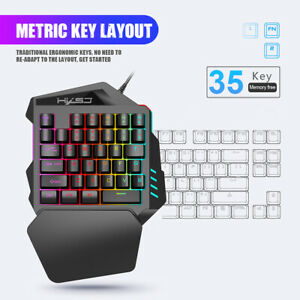 One Hand Gaming Keyboard,Wired Gaming Keyboard Backlight 35 Keys Mini LED Backlight Suitable for Games and Programming