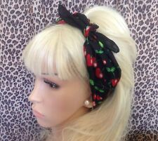 NUOVO BLACK RED CHERRY Stampa Cotton Bandana Testa Collo Sciarpa Per Capelli Rockabilly Pin Up