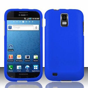 Blue-Rubberized-HARD-Case-Phone-Cover-T-Mobile-Samsung-Galaxy-S-II-2-S2-T989