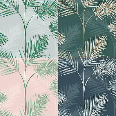 South Beach Palm Wallpaper Fine Decor Metallic Tropical Pink Blue Green Grey Ebay
