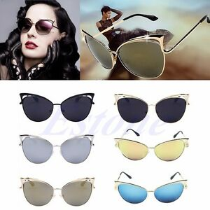 1851f4bb01e Retro Women s Gold Cat Eye Sunglasses Classic Designer Vintage ...
